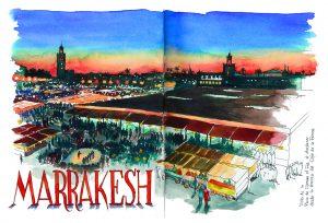 Cuadernos de viaje Marrakesh Acuarela