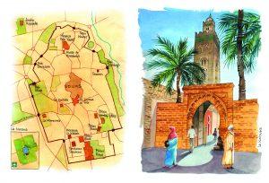 Cuadernos de viaje Marrakesh Koutoubia mapa