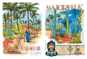 Cuaderno de viaje Marrakech Jardin Majorelle Acuarela