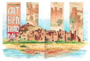 Cuadernos de viaje Ait Ben Haddou Acuarela