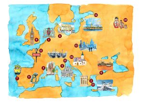 Europe map watercolor