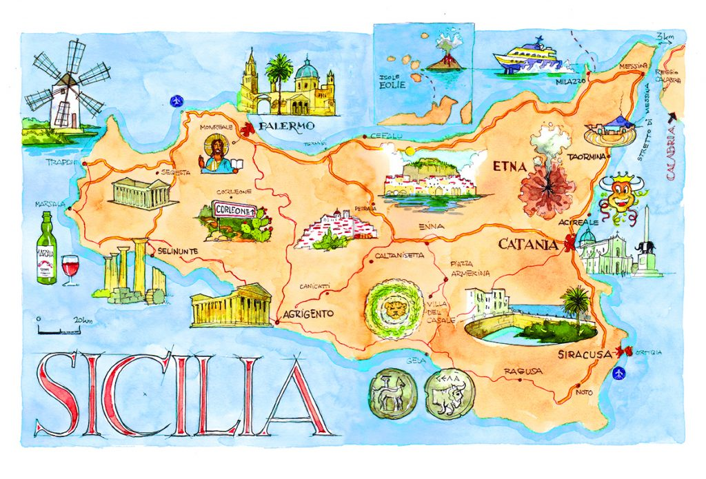 Sicilia mapa plano