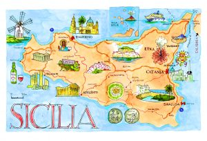 Acuarelas de Sicilia 2020 mapa plano