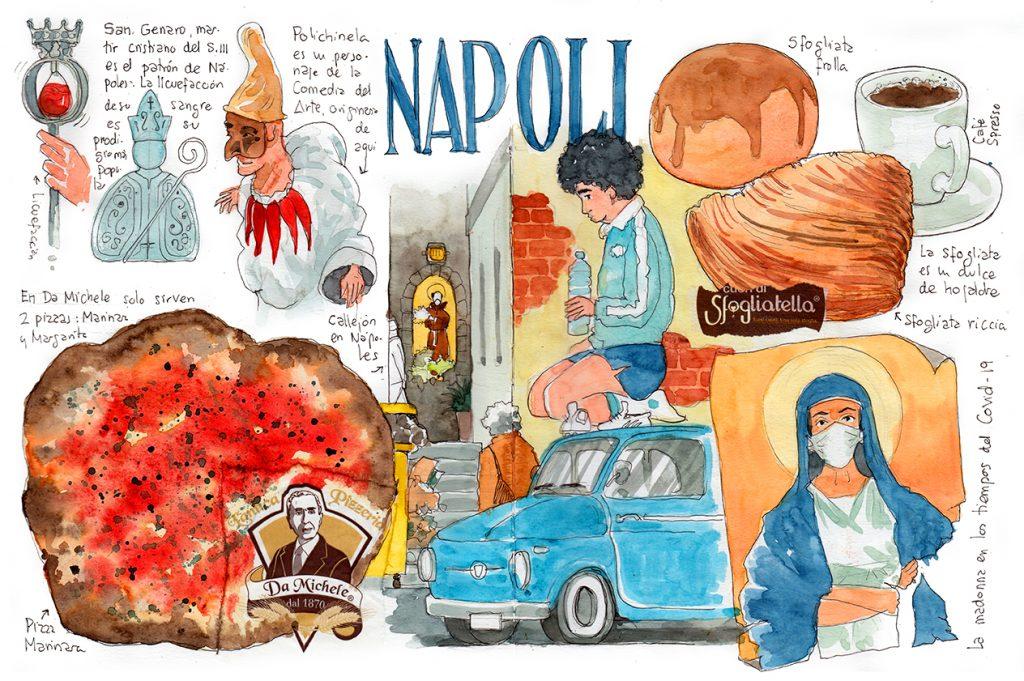 Acuarela Napoles Watercolor Naples