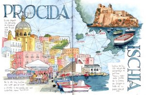 Acuarela Napoles Watercolor Naples