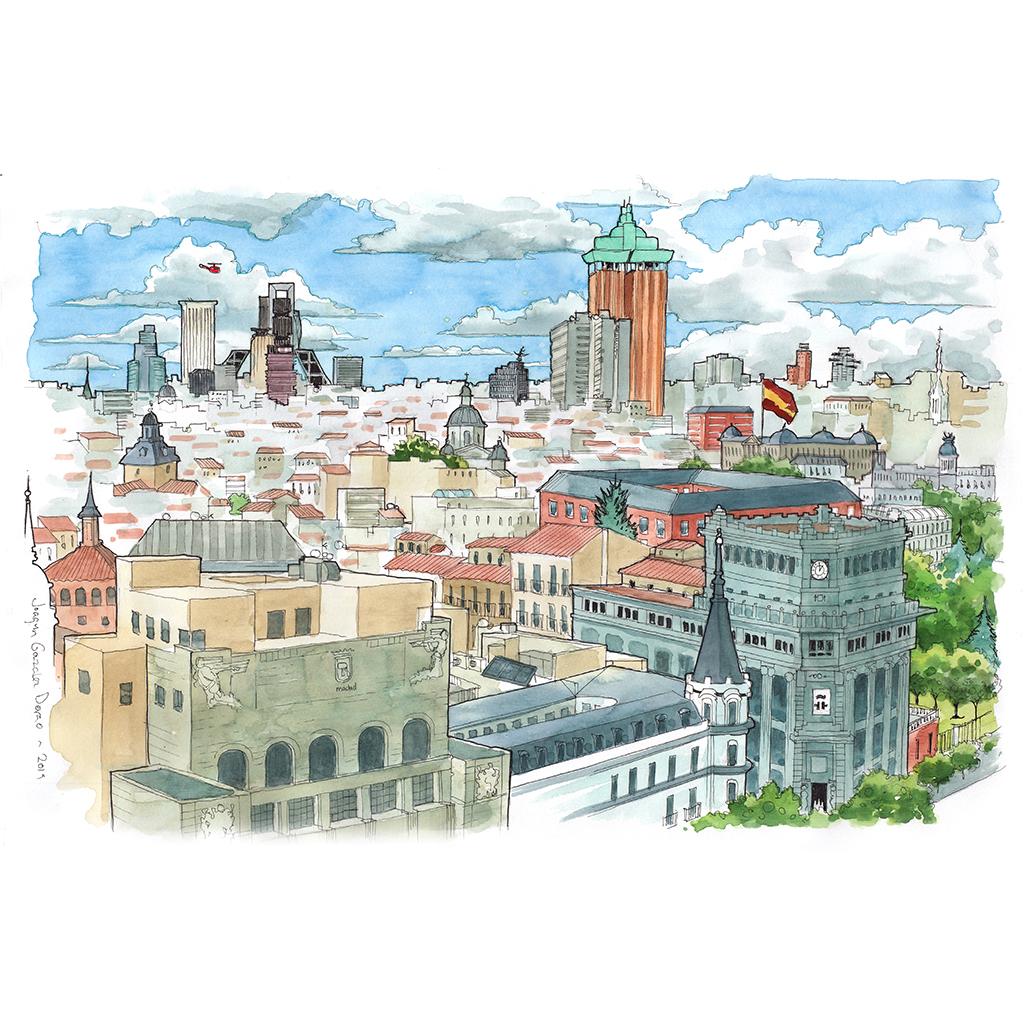 Dibujos de Madrid ilustraciones en acuarela
